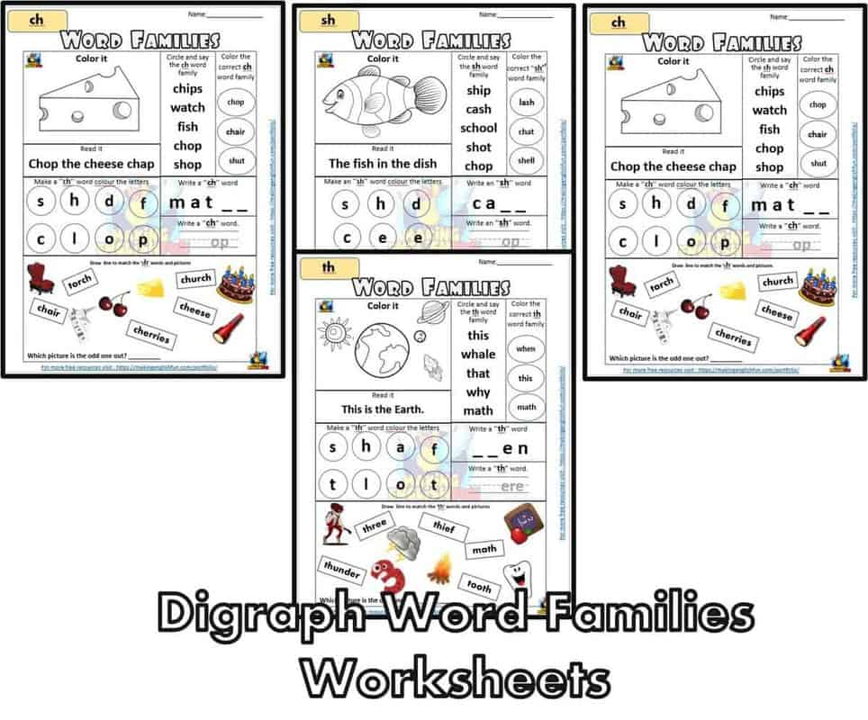 Digraphs Word Families Worksheets Wh-Ch-Sh-Th - Making English Fun [ 1088 x 1311 Pixel ]